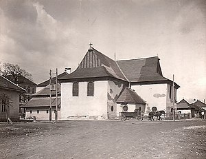 Articular church - The articular church in Kežmarok before restoration (photo from the early 20th century)