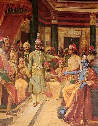 Satyaki - Krishna as envoy to the Kaurava court before Kurukshetra war. Satyaki takes out his sword when the Kauravas, raise their sword against Krishna, while Krishna holds his hand