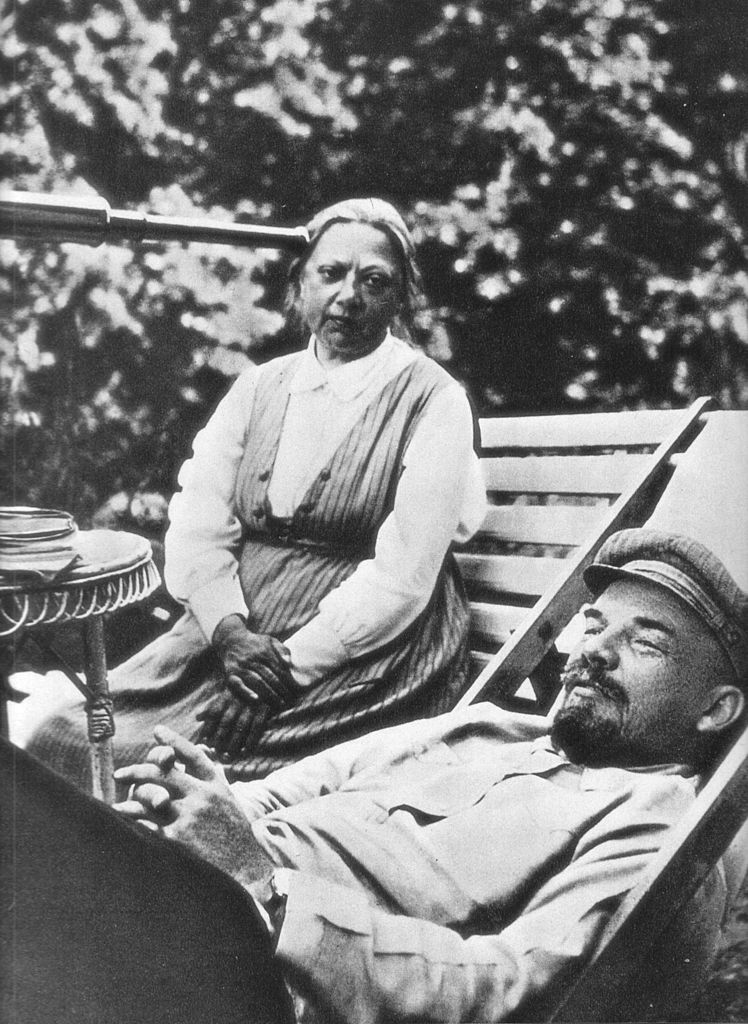 Vladimir Lenin with his wife, Nadezhda Krupskaya, photographed in 1922 by Lenin's sister, Maria Ulyanova