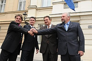Zoran Milanović - Milanović with Ivan Jakovčić, Radimir Čačić and Silvano Hrelja announcing the formation of the Kukuriku coalition on 15 July 2011.