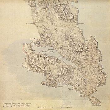 Kort over Kungliga Dyrehaven fra 1794, hvor omgivende hegn omkring jagtparken fremgår.   Venstre:   Den nordlige del, højre:   Den sydlige del