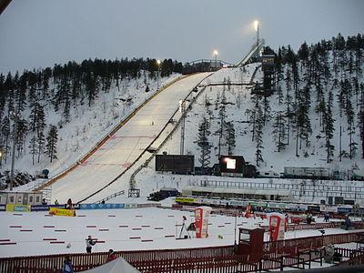 Hoppbacken och slalombacken i Kuusamo