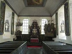 Billede fra indersiden af Läckö slottes kirke.