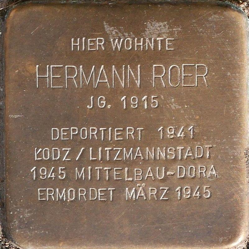 Stolperstein für Hermann Roer