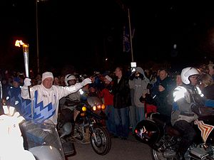 LaVell Edwards - Edwards carrying the Olympic Torch in 2002