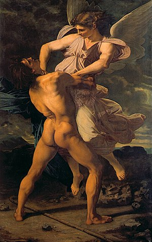 Jacob wrestles with the angel