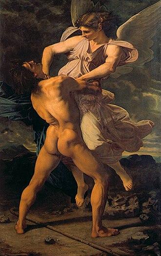 Paul-Jacques-Aimé Baudry - Image: La lutte de Jacob avec l'ange de Paul Baudry (1853) musée de La Roche sur Yon