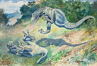 "Physiology of dinosaurs - The 1897 painting of ""Laelaps"" (now Dryptosaurus) by Charles R. Knight"
