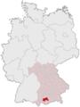 Lage des Landkreises Weilheim-Schongau in Deutschland.png