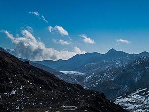 Lake Menmecho - Lake as seen from the Nathu La-Gangtok Highway.