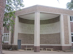 "Mirabeau B. Lamar - Mirabeau Lamar monument at Stephen F. Austin State University in Nacogdoches, Texas, reads: ""The cultivated mind is the guardian genius of democracy."""