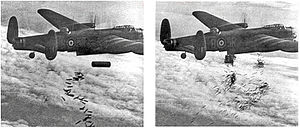 "Blockbuster bomb - A Lancaster drops a ""cookie"" (left), incendiary bombs and bundles of incendiary bombs (right) on Duisburg on 15 October 1944"