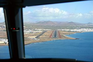 Lanzarote Airport - Lanzarote Airport seen from the cockpit of an aircraft on approach