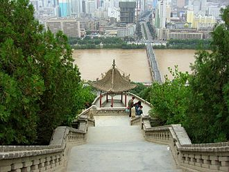Lanzhou - View on Zhongshan Bridge from Baita Mountain Park.