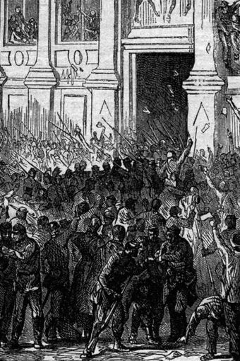 Revolutionary units of the National Guard briefly seized the Hotel de Ville on 31 October 1870, but the uprising failed. Le 31 octobre 1870.jpg