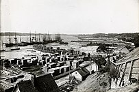 Timber trade at Sillery Cove in 1900.