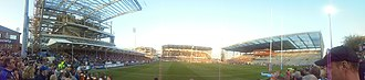 Headingley Rugby Stadium - Panoramic of the ground during redevelopment.