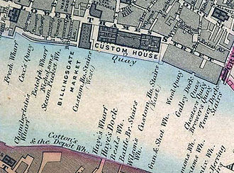 Legal Quays - Map of London's Legal Quays (on the north bank) in 1862