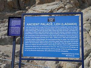 Leh Palace - ASI Information Board