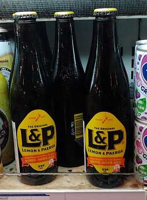 World famous in New Zealand - The slogan as it appears on Lemon & Paeroa bottles.