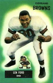 Len Ford, American football defensive end, on a 1955 football card
