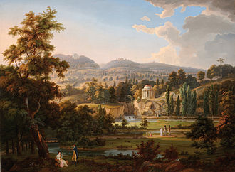 Nikolaus II, Prince Esterházy - A rendering by Albert Christoph Dies of the newly redesigned gardens at the family palace in Eisenstadt. The view is similar today though more wooded.
