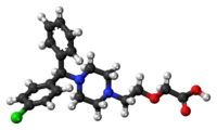 Ball-and-stick model of the levocetirizine molecule