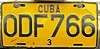 License plate of Cuba 2002 private vehicle Holguín ODF 766.jpg