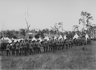 Mundoolun, Queensland - Light-horsemen on parade in an army camp near Mundoolun, 1909