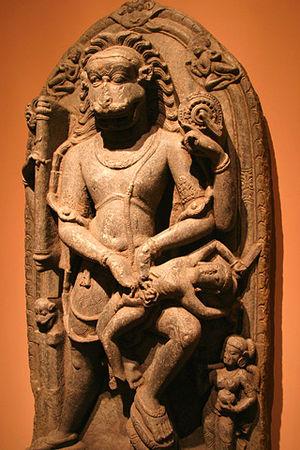 An ancient statue of Vishnu as Narasimha, his fourth avatara