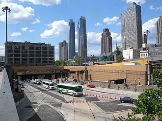 Lincoln Tunnel - Manhattan portals of the south and center tubes