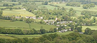 Llanfrynach village in the county of Powys, Wales