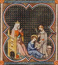 Enluminure montrant le jeune Louis IX assis avec un livre à la main, devant un prêtre qui pointe l'ouvrage du doigt. Blanche de Castille, assise sur une chaise, les observe.