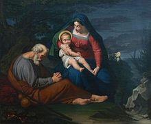Louise Seidler, Ruhe auf der Flucht nach Ägypten, Ölgemälde (1823) (Quelle: Wikimedia)
