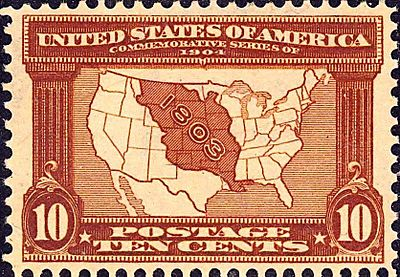 1904 stamp, the first U.S. stamp to commemorate a territory and depict a map Louisiana Purchase7 1903 Issue-10c-crop.jpg
