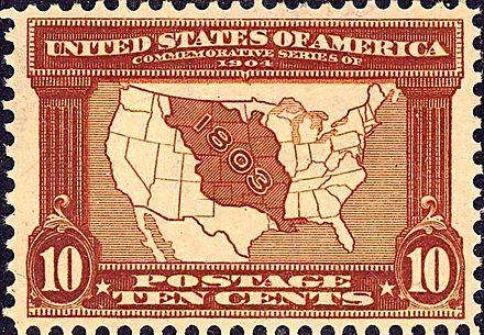 ルイジアナ購入見本のために発行された10セントの切手は、ルイジアナ購入から来た米国の一部を示している