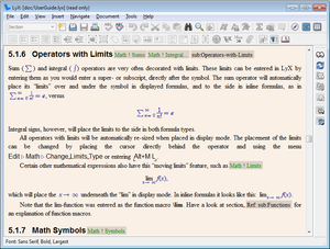 Screenshot of LyX 2.1.x on Windows