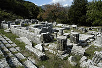 The Temple of Despoina with the theater-like seating area to the left