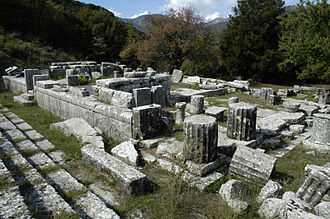 Lycosura - The Temple of Despoina with the theater-like seating area to the left
