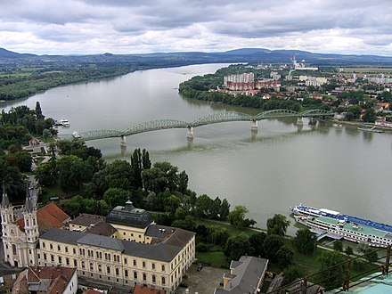 At Esztergom and Sturovo, the Danube separates Hungary from Slovakia Maria Valeria's bridge.jpg