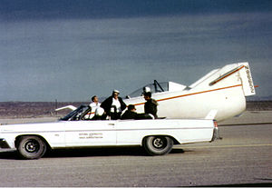 NASA M2-F1 - The M2-F1 and its 1963 Pontiac convertible tow vehicle