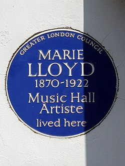 Photo of Marie Lloyd blue plaque