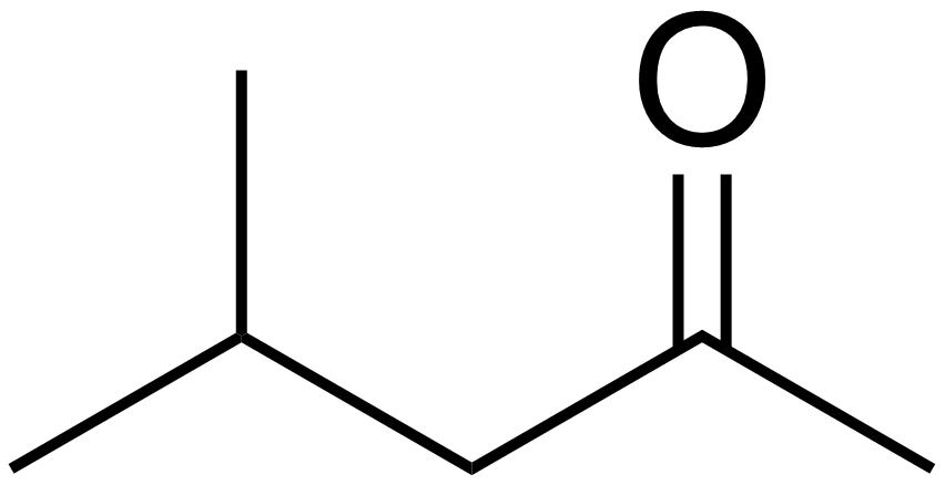 Skeletal formula of methyl isobutyl ketone