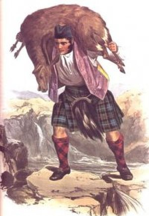 Clan Macrae - A romanticised Victorian-era illustration of a Macrae clansman by R. R. McIan from The Clans of the Scottish Highlands published in 1845