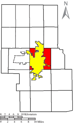 Location of Madison Township (red) in Richland County, next to the city of Mansfield (yellow).