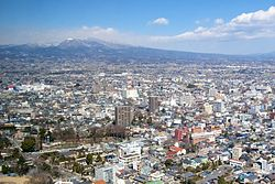 A view of Maebashi with Mt. Akagi, from the top of the Prefectural Government building (Kencho)