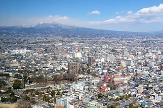 Maebashi - A view of Maebashi with Mt. Akagi, from the top of the Prefectural Government building