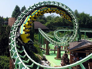 Roller coaster inversion - Corkscrews on the Magic Mountain roller coaster (1985) at Gardaland in Italy