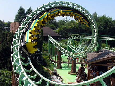 Corkscrews on the Magic Mountain roller coaster (1985) at Gardaland in Italy MagicMountain Gardaland Screw.jpg