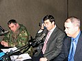Major Chachibaia, PFP Coordinator Irakli Tsomaia and Defense Attaché Lieutenant Colonel Alan Hester in the Radio Green Wave studio (January 27, 2005).jpg